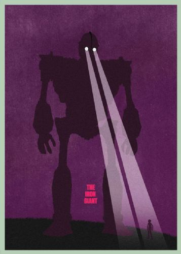 1990's Movie - THE IRON GIANT - PURPLE ART canvas print - self adhesive poster - photo print